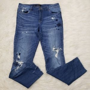 STS Blue Emma Ankle Skinny Embroidered Distressed